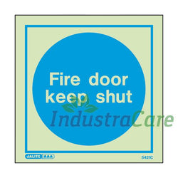 Jalite Fire Door Keep Shut Photoluminescent Rigid PVC Safety Sign
