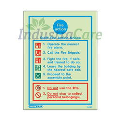 Jalite Staff Fire Action Notice Photoluminescent Rigid PVC Safety Sign