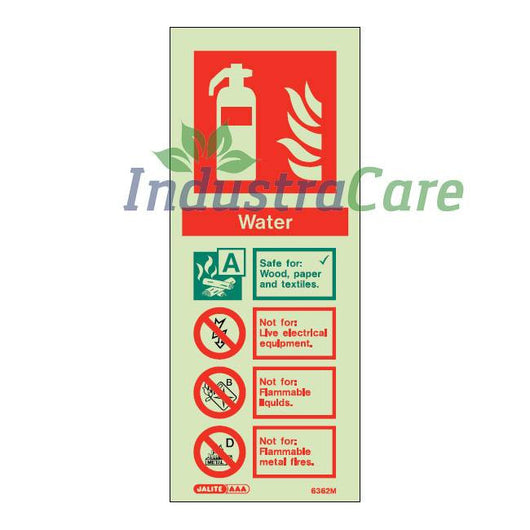 Jalite Water Fire Extinguisher Photoluminescent Rigid PVC Safety Sign (6362M)