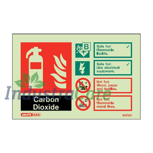 Jalite CO2 Fire Extinguisher Photoluminescent Rigid PVC Safety Sign (6372ID)