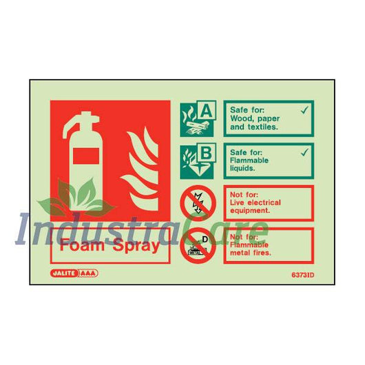 Jalite Fire Extinguisher Foam Spray Photoluminescent Rigid PVC Safety Sign