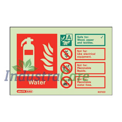 Jalite Fire Extinguisher Water Photoluminescent Rigid PVC Safety Sign (6374ID)