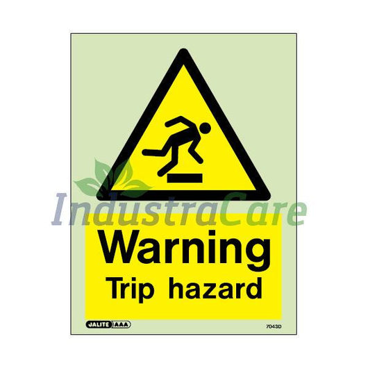 Jalite Warning Trip Hazard Photoluminescent Rigid PVC Safety Sign