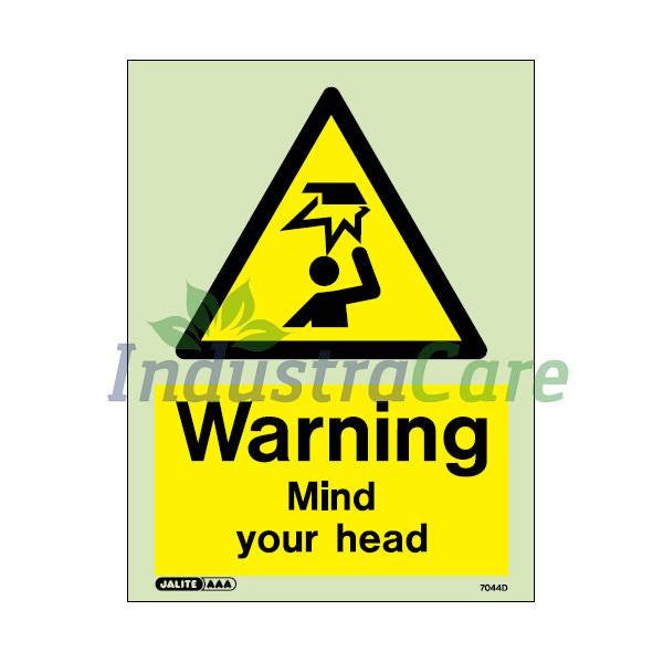 Jalite Warning Mind Your Head Photoluminescent Rigid PVC Safety Sign