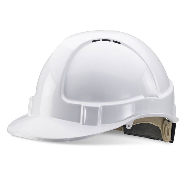 B-Brand Ratchet Safety Helmet White 1