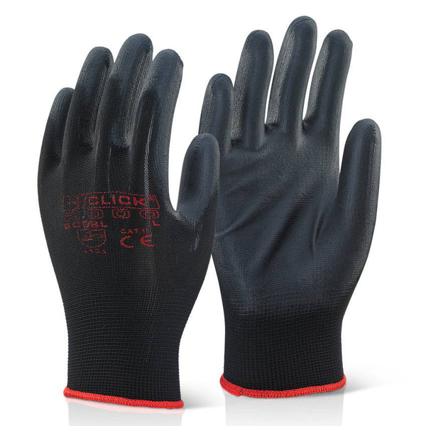 Click 2000 Polyurethane Coated Work Gloves Black
