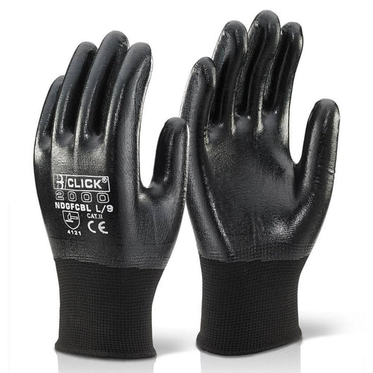 Click Nitrile Fully Coated Polyester Gloves Black