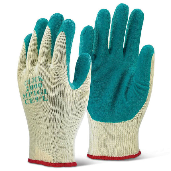 Click Multi Purpose Green Latex Palm Gloves