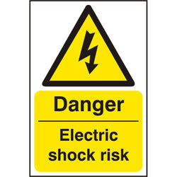 Danger Electric Shock Risk Self Adhesive Vinyl Hazard Warning Sign
