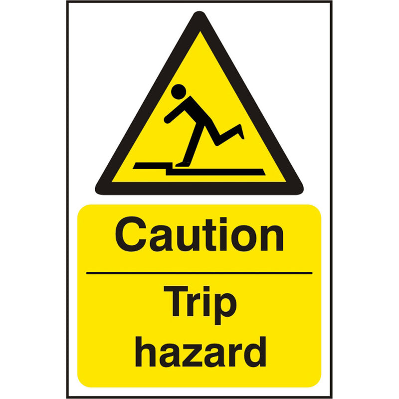 Caution Trip Hazard Self Adhesive Vinyl Warning Sign