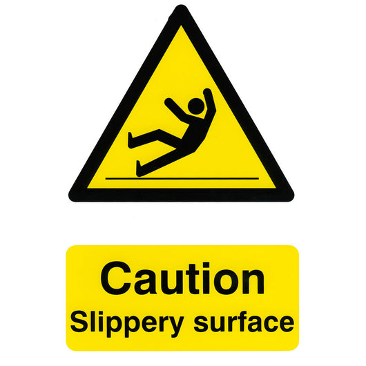 Caution Slippery Surface Rigid PVC Hazard Warning Safety Sign