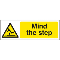 Mind The Step Self Adhesive Vinyl Hazard Warning Safety Sign