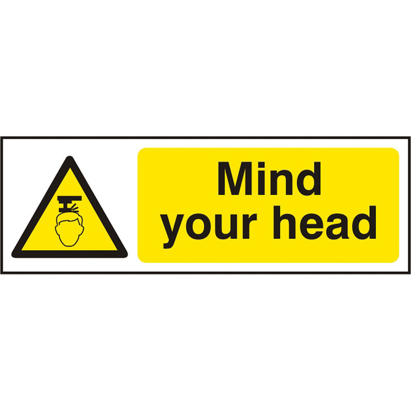 Mind Your Head Self Adhesive Vinyl Hazard Warning Safety Sign