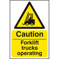 Caution Forklift Trucks R.P.V.C Hazard Warning Safety Sign