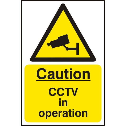 Caution CCTV in Operation S.A.V Sign - Self Adhesive Safety Sign