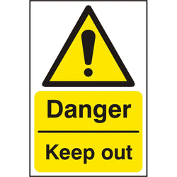 Danger Keep Out Self Adhesive Vinyl Hazard Warning Sign