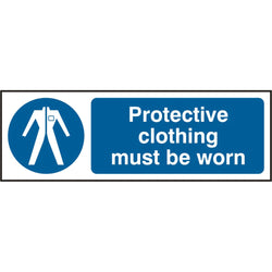 Protective Clothing Must Be Worn Rigid PVC Safety Sign