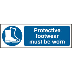 Protective Footwear Must Be Worn Rigid PVC Safety Sign