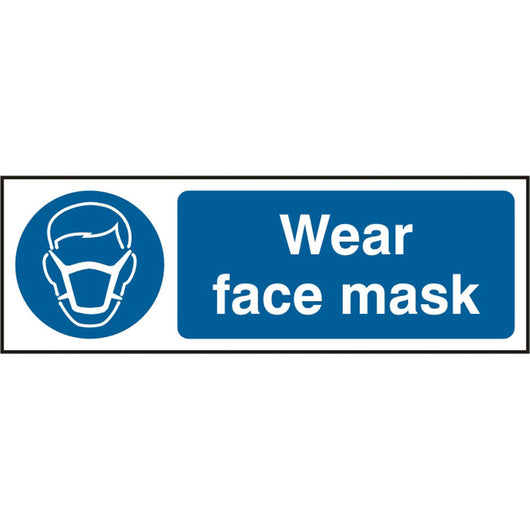 Wear Face Mask Self Adhesive Vinyl Safety Sign