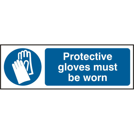 Protective Gloves Must Be Worn Rigid PVC Safety Sign