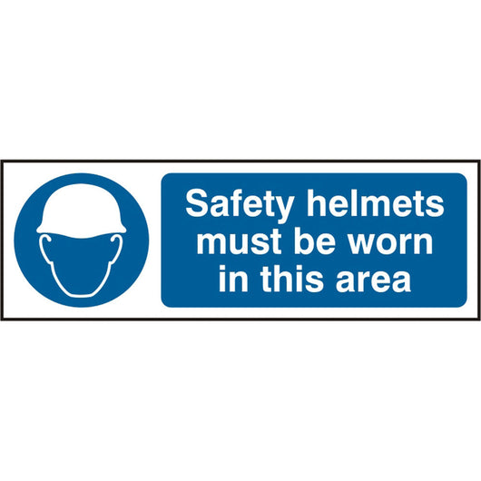 Safety Helmets Must Be Worn In This Area Self Adhesive Vinyl Safety Sign