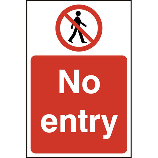 No Entry Self Adhesive Vinyl Prohibition Safety Sign