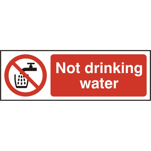 Not Drinking Water Self Adhesive Vinyl Prohibition Safety Sign