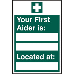 First Aider Located Self Adhesive Vinyl Safety Sign