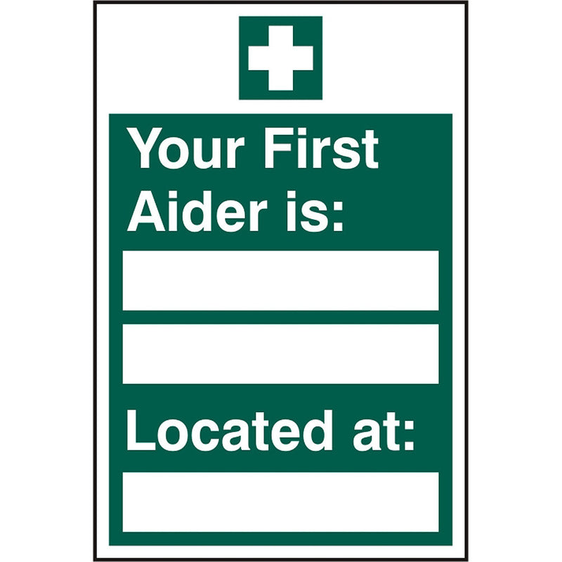 First Aider Located Rigid PVC Safety Sign