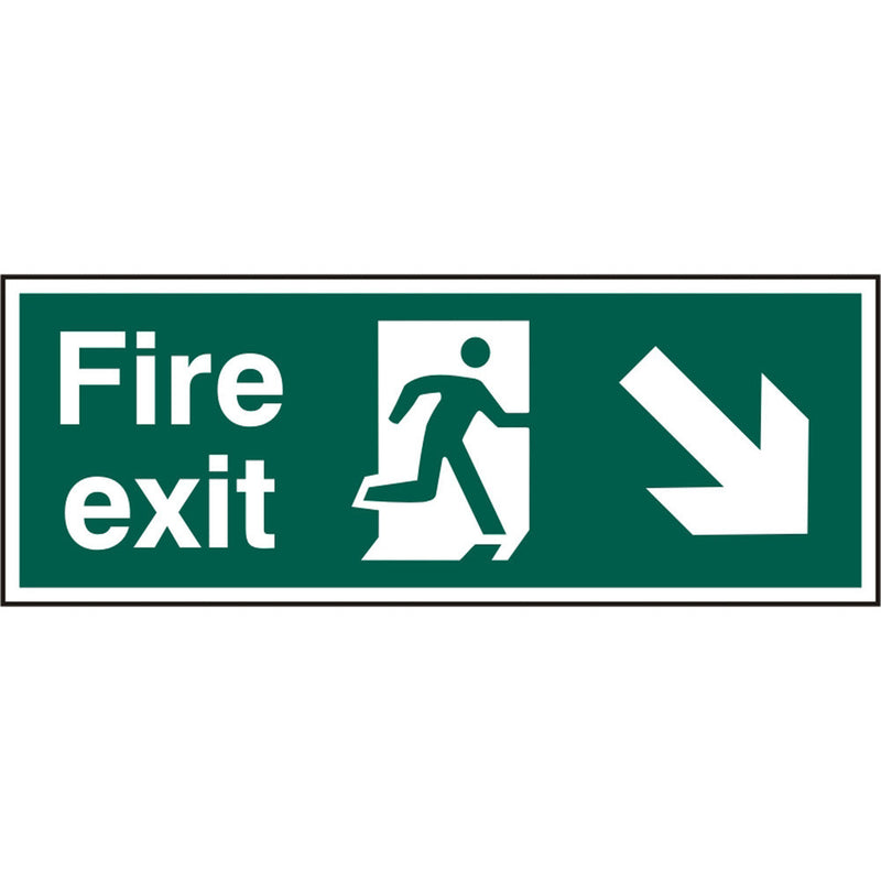 Fire Exit Man Arrow Down Right Rigid PVC Safety Sign