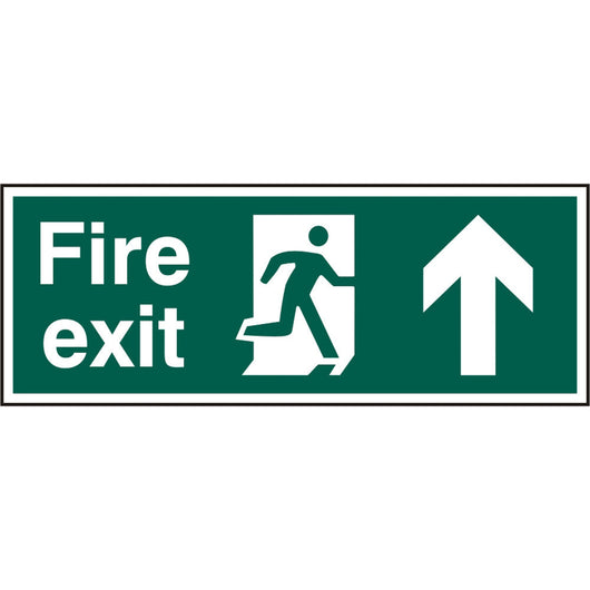 Fire Exit Man Arrow Up Rigid PVC Safety Sign