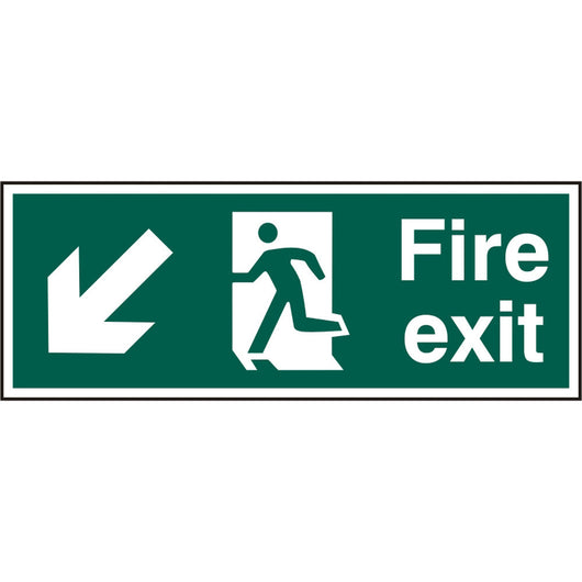 Fire Exit Man Arrow Down Left Rigid PVC Safety Sign
