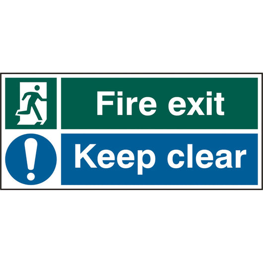 Fire Exit Keep Clear Rigid PVC Safety Sign
