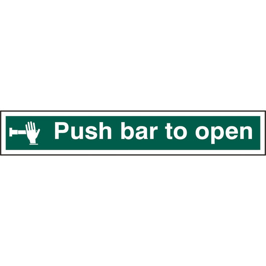 Push Bar To Open Rigid PVC Safety Sign