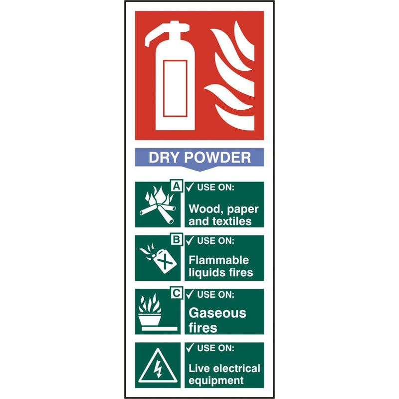 Fire Extinguisher Dry Powder Rigid PVC Safety Sign