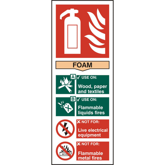 Fire Extinguisher Foam Self Adhesive Vinyl Safety Sign