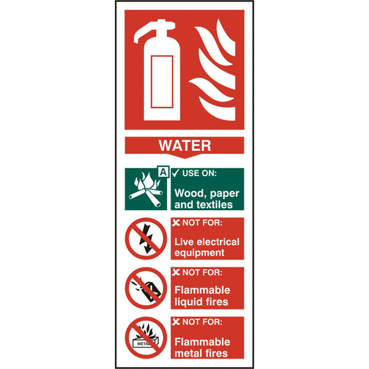 Fire Extinguisher Water Self Adhesive Vinyl Safety Sign