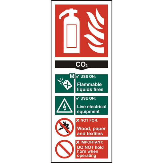 Fire Extinguisher C02 Rigid PVC Safety Sign