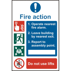 Fire Action Procedure Self Adhesive Vinyl Safety Sign