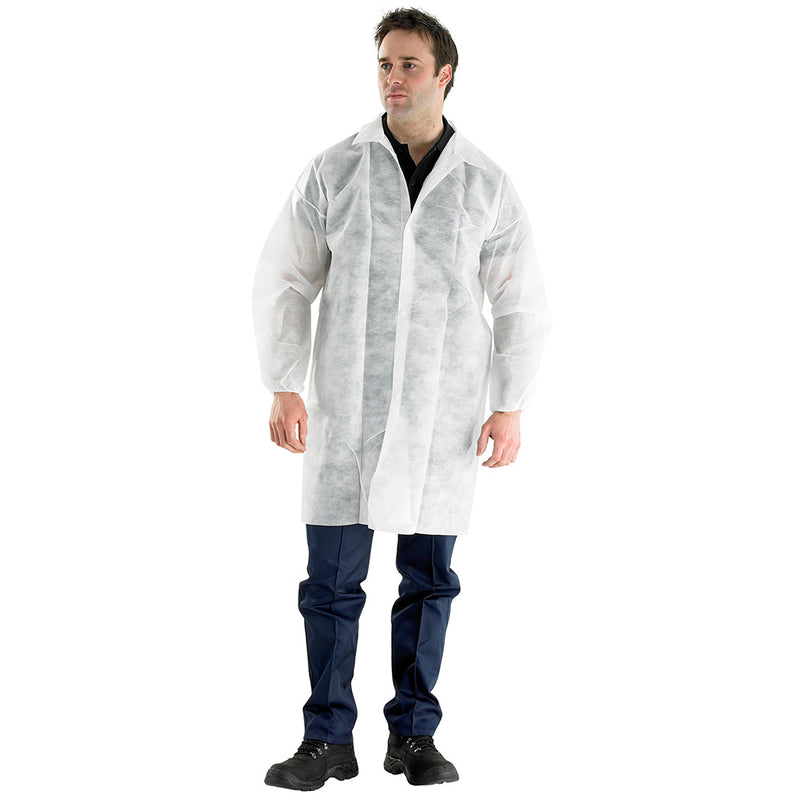 Click Disposable Visitors Coat White