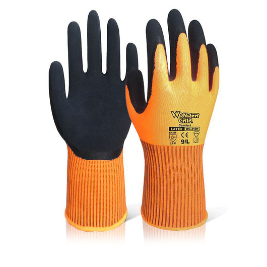 Wonder Grip Comfort Hi Vis Orange Gloves