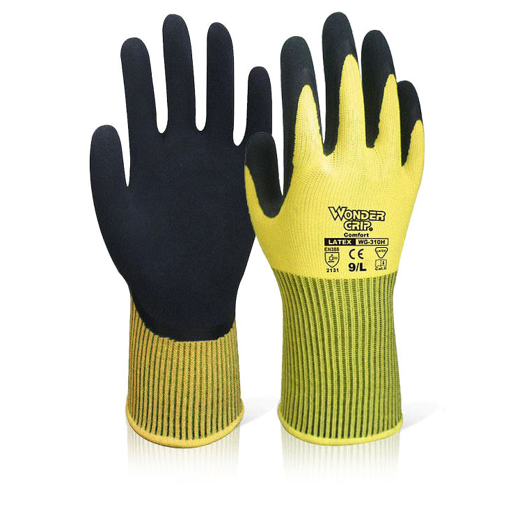 Wonder Grip Comfort Hi Vis Yellow Gloves