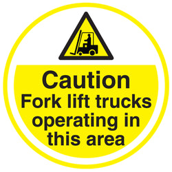 PROline Floor Sign: Caution Fork Lift Trucks Operating In This Area (image 1)
