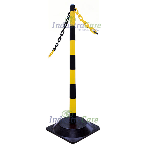 Guarda Chain Post Set with Rubber Bases - Yellow/Black