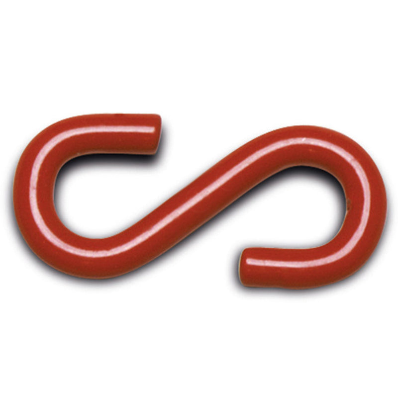 Chain Post Attachment Hooks - Steel + Red Plastic Coating