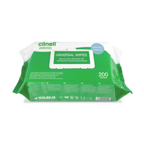 Clinell Universal Antibacterial Wipes (Pack of 200)