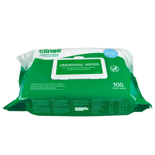 Clinell Universal Antibacterial Wipes (Pack of 100)