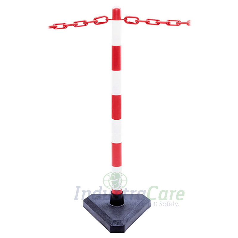 Guarda Chain Post Set with Concrete Filled Bases - Red/White