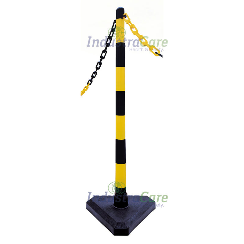 Guarda Chain Post Set with Concrete Filled Bases - Yellow/Black