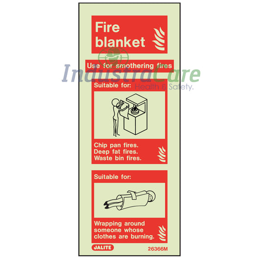 Jalite Fire Blanket Photoluminescent Rigid PVC Safety Sign (6366M)
